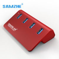 SAMZHE USB Hub With 4 USB 3 0 Ports For Data Transfer Desktop Aluminum Hub For