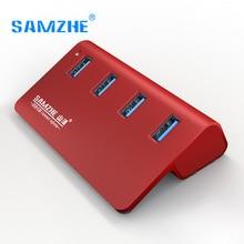 SAMZHE высокое Скорость USB 3.0 HUB 4 Порты расширения рабочего стола USB разветвитель Алюминий Adpater для портативных ПК Macbook зарядки телефона