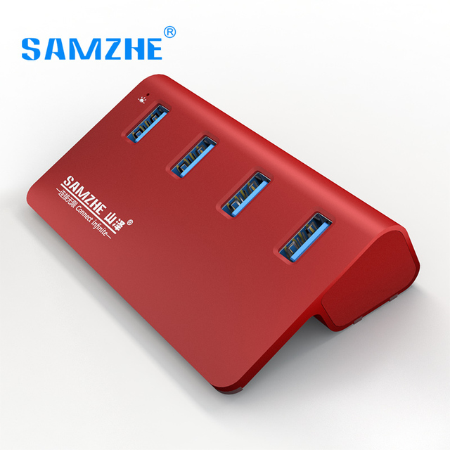 SAMZHE USB 3.0 Hub,4 Ports USB 3.0 Desktop Extension USB Splitter Aluminum Adpater For Laptop PC Macbook with