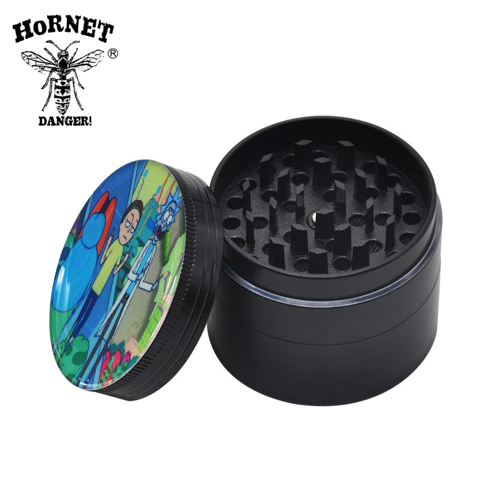 Image 5 - HORNET Domed Sticker Rick&Morty Smoking Grinder Zinc Alloy Metal Herb Grinder 50MM 4 Layers Tobacco Grinder Hand Muller Crusher-in Tobacco Pipes & Accessories from Home & Garden