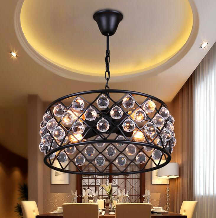 Creative Personality American Village Restaurant Living Room Bedroom Chandelier Simple Iron Crystal Chandelier Free Shipping ring chandelier led american village living room head simple restaurant solid wood circle new cl mz133