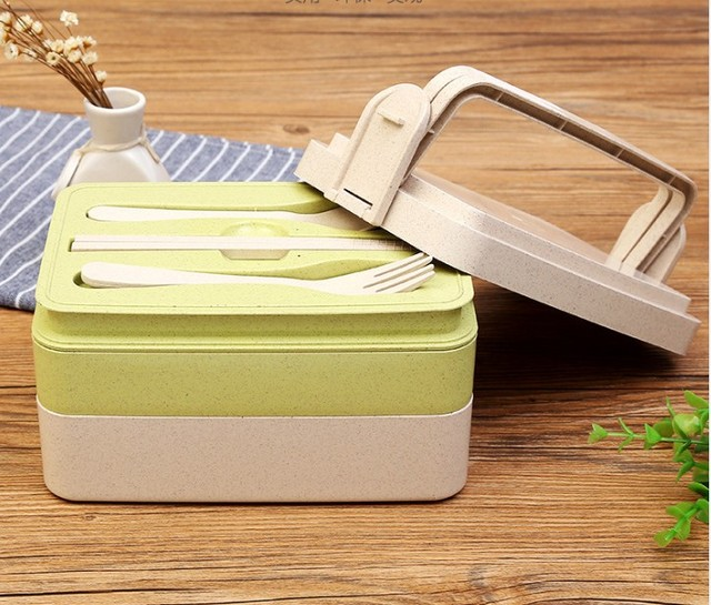 1pc Multi Layer Lunch Container Microwave Ovens Wheat Straw Lunch