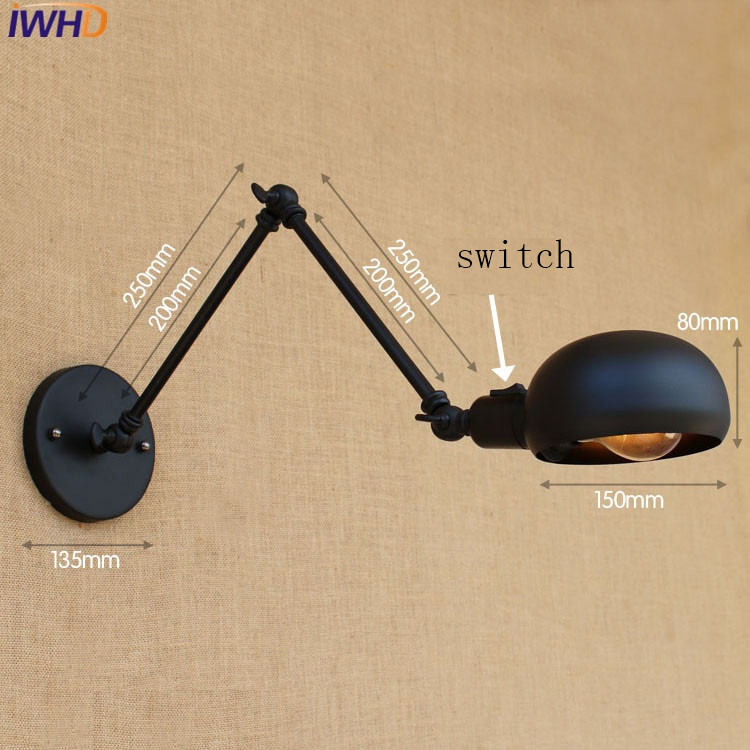 Black Iron Wall Lamp Loft Creative Swing Arm Sconce E27 Vintage Industrial Wall Light Switch Balcony Restaurant Bar Bedroom Bed top grade wood handcrafted swing arm light sconce led wall lamp nordic style home decoration lighting e27 black with switch