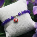 6mm Popular Purple Crystal beads Natural stone Bracelet hand chain for women girls Pendant Tibet Silver Lucky bag Jewelry