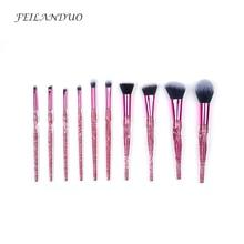 цена на FEILANDUO10 Pcs Makeup Brushes Set Eyeshadow Foundation Powder Brush Accessories Beauty Professional Cosmetic Brush Tool Kit