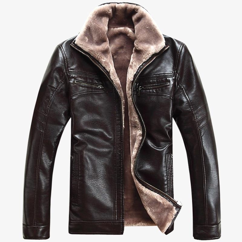 Doprava zdarma Horký výprodej Zimní silný ovčí kožený oděv Neformální flockovací kožená bunda Pánské oblečení Kožená bunda Kabát Muži