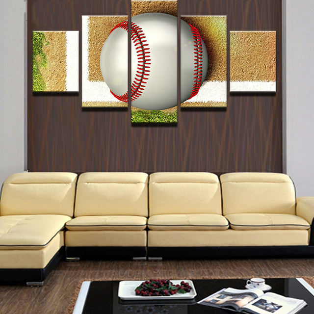 Modular Pictures Home Decor Paintings On Canvas 5 Panel Tennis Ball ...