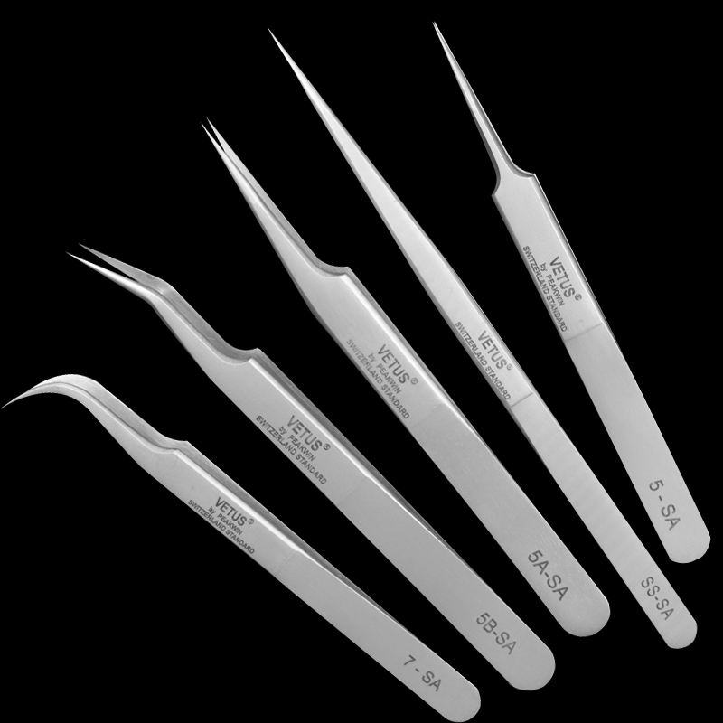 Купить с кэшбэком VETUS SA Series Stainless Steel Hyperfine High Precision Antimagnetic Anti Acid Tweezers Pro Tool for Eyelash Extension