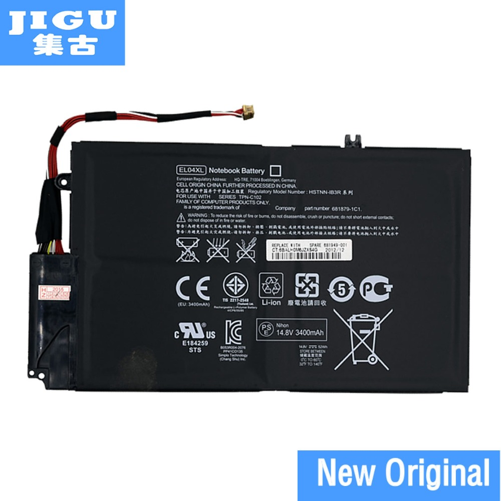 JIGU Original Laptop Battery EL04XL For HP TPN-C102 ENVY 4-1000 4-1151er 4-1007TX 4-1008tx 4-1218TU HSTNN-UB3R IB3R 681879-1C1
