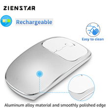 Zienstar Rechargeable Aluminum Alloy Silent Click 2.4G Wireless Mouse with USB Receiver2400DPI ,600Mah Battery for Mac,Computer