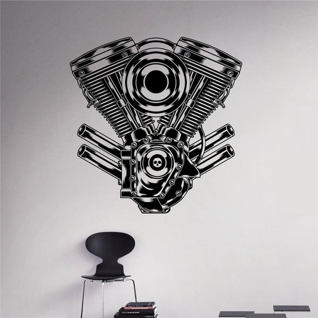 Doprava zdarma Motor Motor Stick nálepka Auto garáž Decor Vinyl samolepka Domů Interiér odnímatelný Decor Wall Art Vlastní nálepky