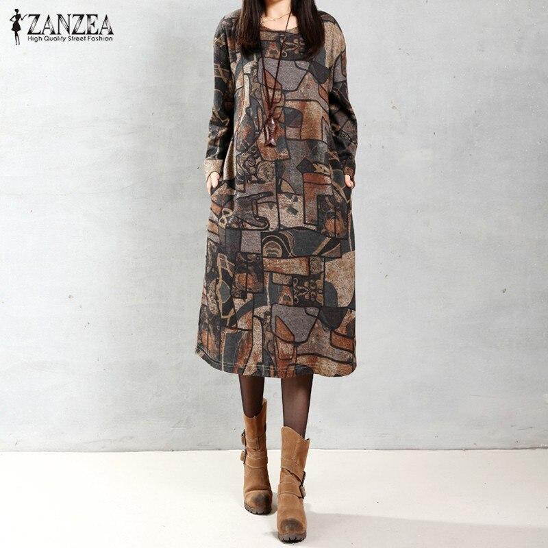 ZANZEA Women 2018 Autumn Vintage Mid-calf Length Dress Casual Loose Long Sleeve O Neck Retro Printed Dress Vestidos Plus Size