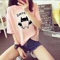 2017 Venta Caliente Rosa Flojo Ocasional Tops Mujer Moda Kawaii Batman de la historieta Impresión de la Camiseta de Las Mujeres Medio Verano Tops Ropa mujeres