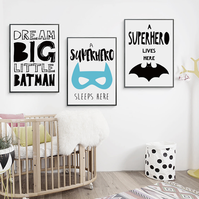 Bianche Wall Batman Super Hero Inspirational Cartoon Canvas