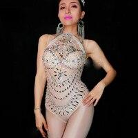 Jazz Stage Leotard Costume Prom Sexy Skin Perspective Rhinestone Bodysuit Sexy Crystal Wedding Dj Female Singer Nightclub DN2238