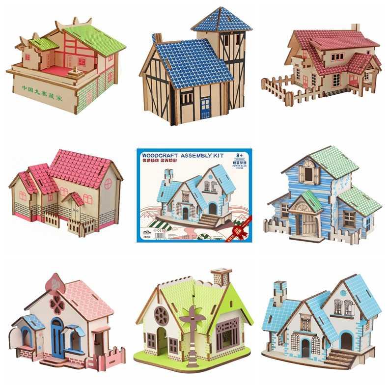3D Enigma De Madeira Casa do Enigma DIY Modelo de Construção Kits Românticos Casa Educação Puzzles Brinquedo Casa de Estilo Ocidental para o Miúdo e adulto