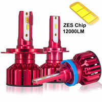 CZPVQ 2 Pcs Car Headlight LED H4 H7 H1 4300K 5000K 6500K 8000K H8 H9 H11 H3 9005 9006 880 LED Bulb Auto Fog Light 12000LM 12V