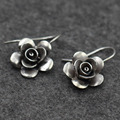 925 Sterling Silver Earrings charming rose blooming retro Thailand imported original design manual silver Chiang Mai