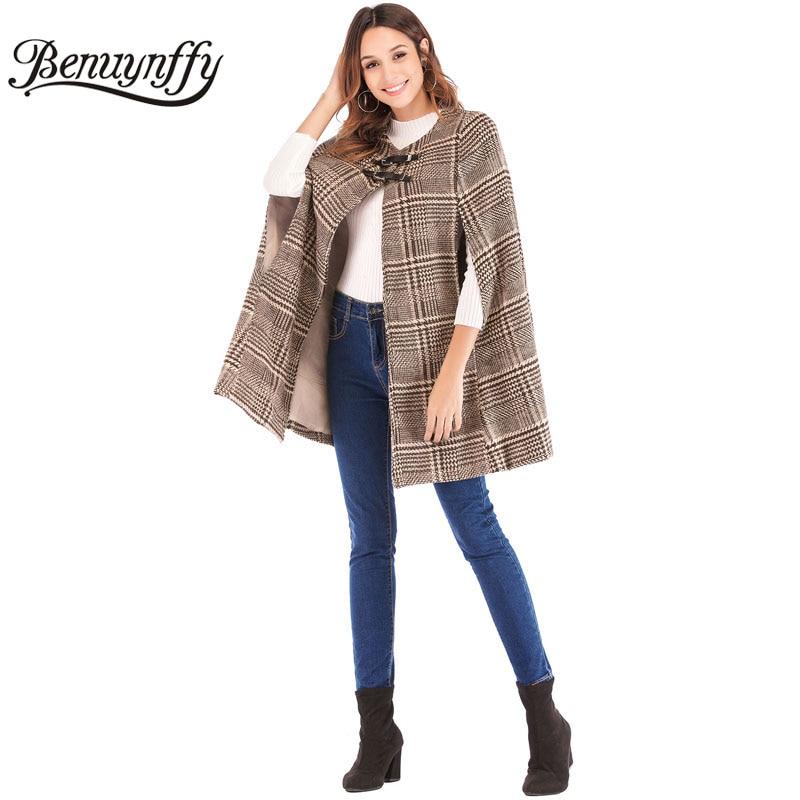Benuynffy женская кожаная пряжка плащ рукав плед твидовый плащ пальто осень зима элегантный OL Спецодежда женская верхняя одежда пальто