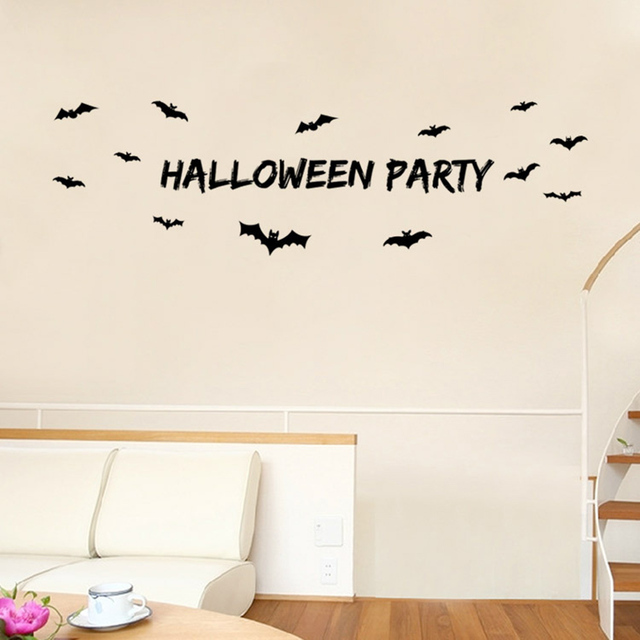 Waterproof Removable Creative Pvc Party Decoration Bat Sticker Diy Wallpaper Home Wall Hg0164