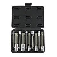 10PCS 4 Inch Extra Long Triple Square Spline Bit Socket Set S2 Steel Bits Chrome Vanadium Sockets M4 M18 Socket set hand tool