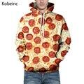 Bonito Impressão De Pizza Salame Camisola Durante Todo o Jogo S-3XL Casal Amantes Moletons Hoodies Tamanho Grande Cordão de Manga Comprida Moletom