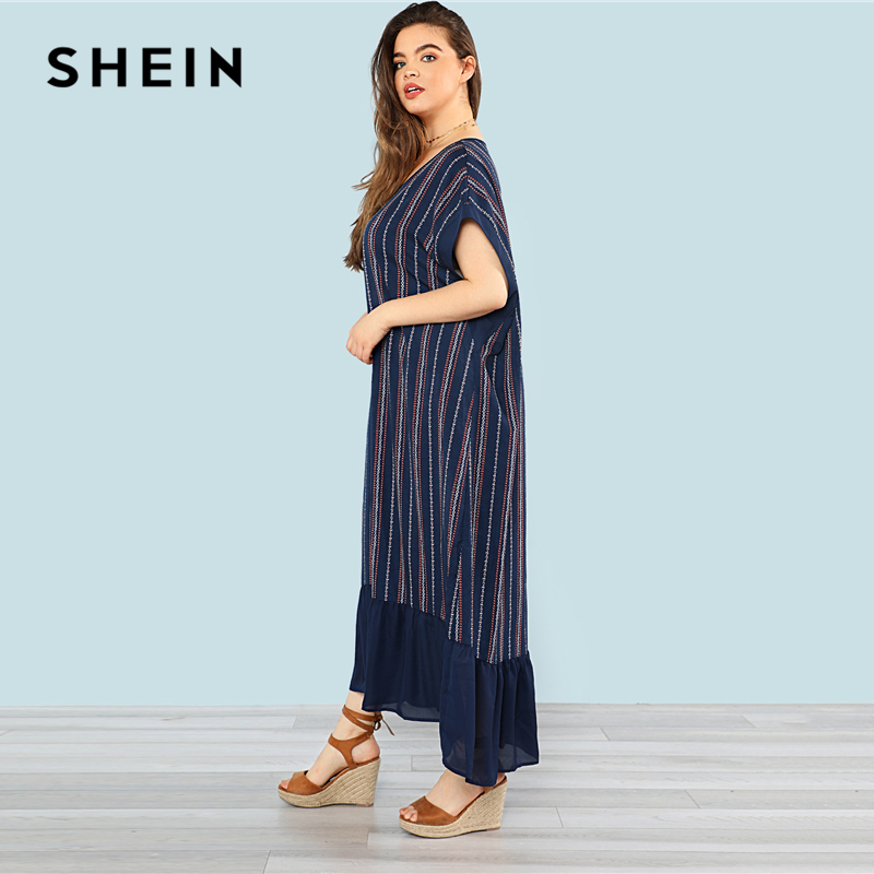 Aliexpress Buy Shein Plus Sizes Navy Ruffle Hem Striped Maxi