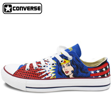 Classic Low Top Converse All Star Women Men Shoes Wonder Woman Design Custom Hand Painted Shoes Canvas Sneakers Unique Gifts