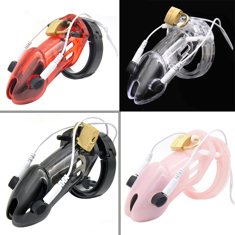 Men Chastity Lock Long Cock Cage Male Electro Chastity Device+Power box Shock Men Penis lock Plastic Device Home ornament