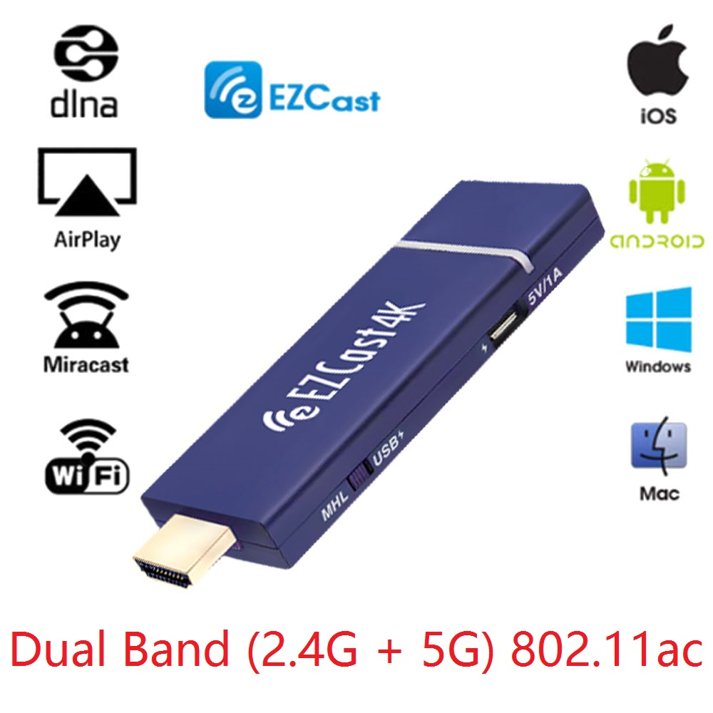 Worldwide EZCast 4K*2K Wifi display dongle,HD 1080PHDMI Wireless TV Stick Mirroring Support iOS Android DLNA ,H.265 4K video ugoos um3 android4 4 rk3288 2k 4k tv dongle rii i8 black
