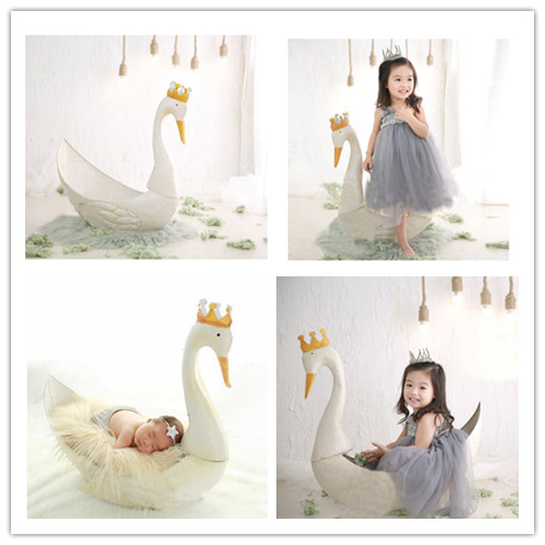 Newborn Photography Props Cute White Swan Props Gifts Lovely Baby Props Studio Photo Props