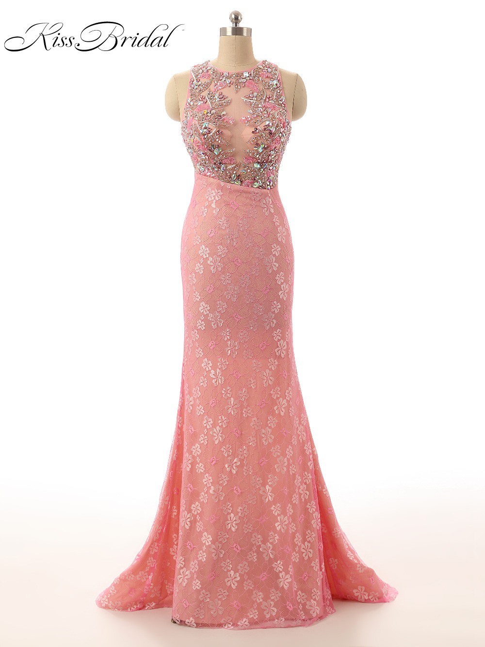 New Design   Evening     Dresses   O-Neck Sleeveless Mermaid Lace Beaded Crystal Keyhole Back Illusion Formal Prom Party Gowns