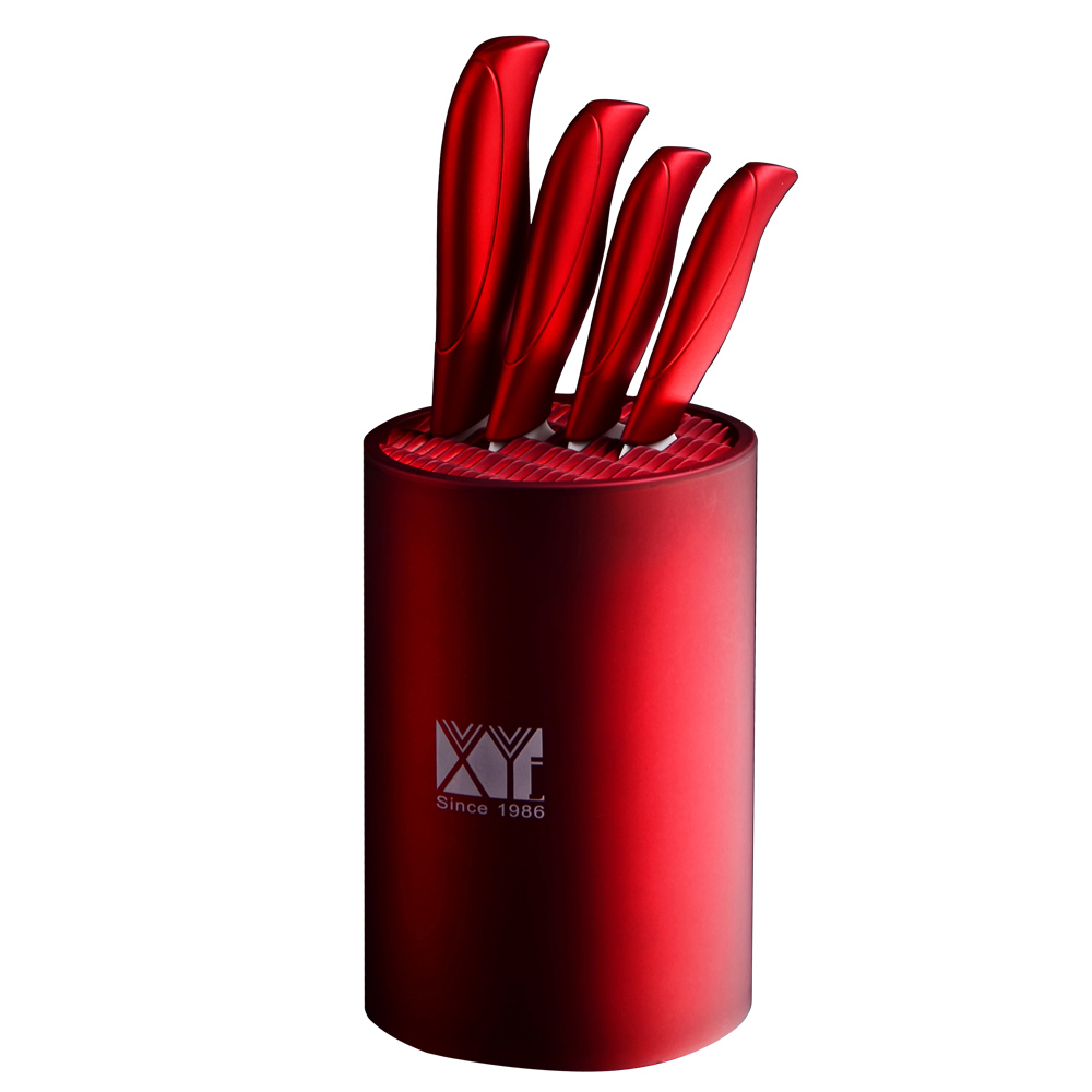 XYJ Hot Brand Red Handle 3 4 5 6 Ceramic Knife Set And One Round 6