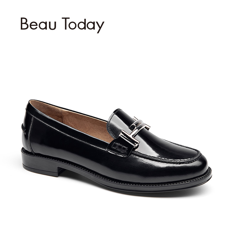 BeauToday Moccasin Loafers Women Top Brand Flats Round Toe Slip-on Metal Decoration Patent Cow Leather Handmade Shoes 27040 beautoday genuine leather crystal loafer shoes women round toe slip on casual shoes sheepskin leather flats 27038