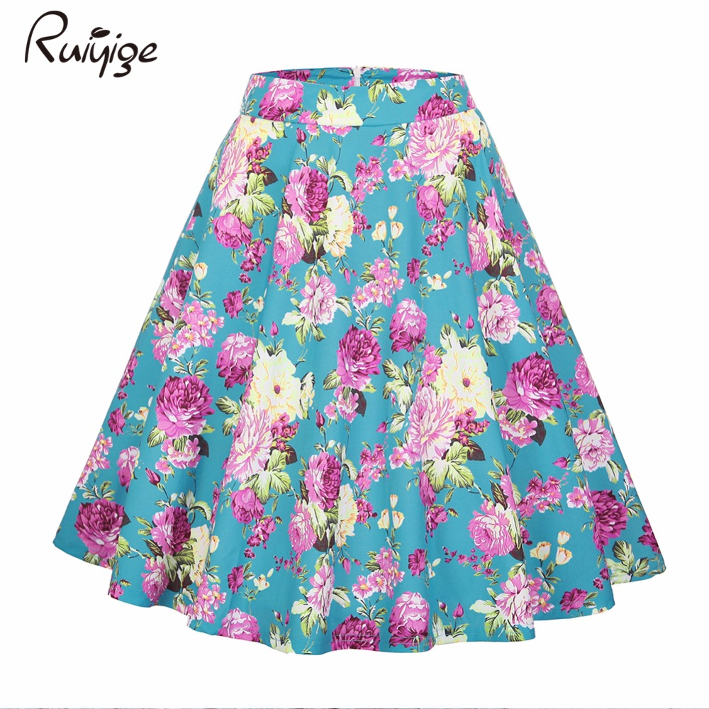 2017 Skirts Women Sexy Midi Skirt Dot Floral Print Vintage Black Plus Size Summer High Waist Ball Gown Elegant Tutu faldas Saia