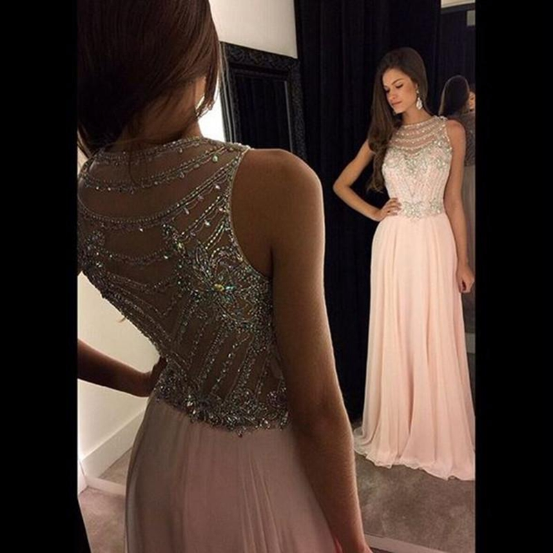 prom     dresses   sexy pink   prom   gown a-line beading   dress   long   prom   see through back chiffon party   dress