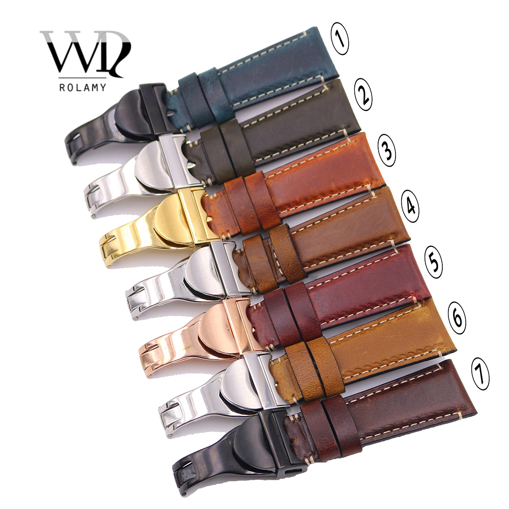 Rolamy Wholesale 22mm Vintage Color Genuine Leather Replacement Wrist Watchband Strap Belt Loops Band Bracelets For IWC Tudor