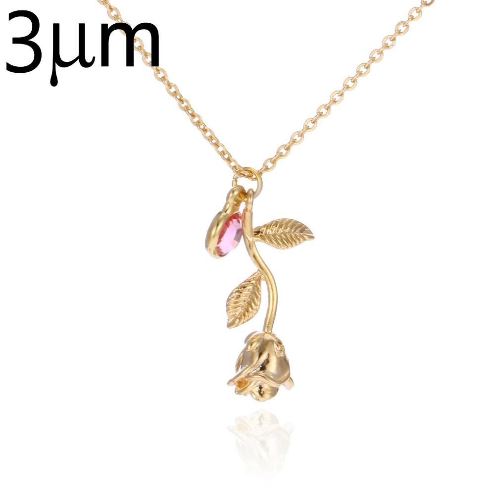 3D Rose Halskette gold farbe Personalisierte benutzerdefinierte Birthstone charme Halskette Schluss Rose Blume Schönheit und das Biest Schmuck Frauen