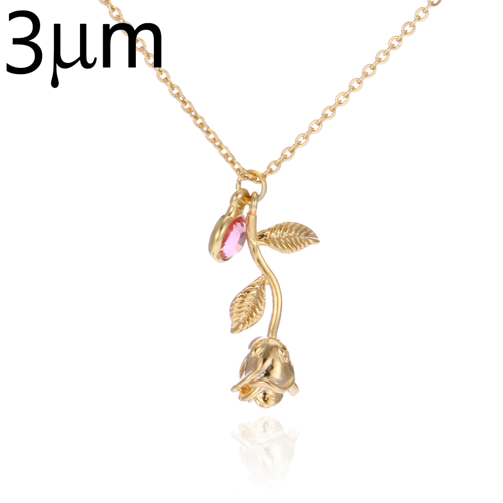 3D Rose Necklace gold color Personalized custom Birthstone charm Necklace Final Rose Flower Beauty and the