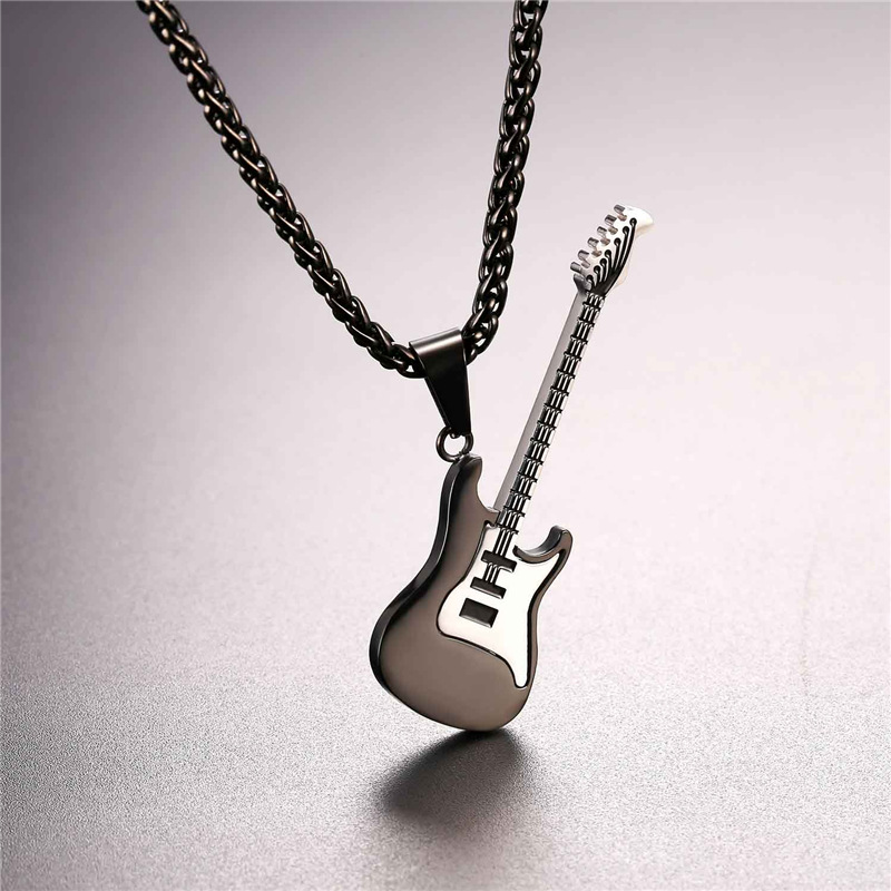 New Enamel Electric Guitar Pendant Necklace