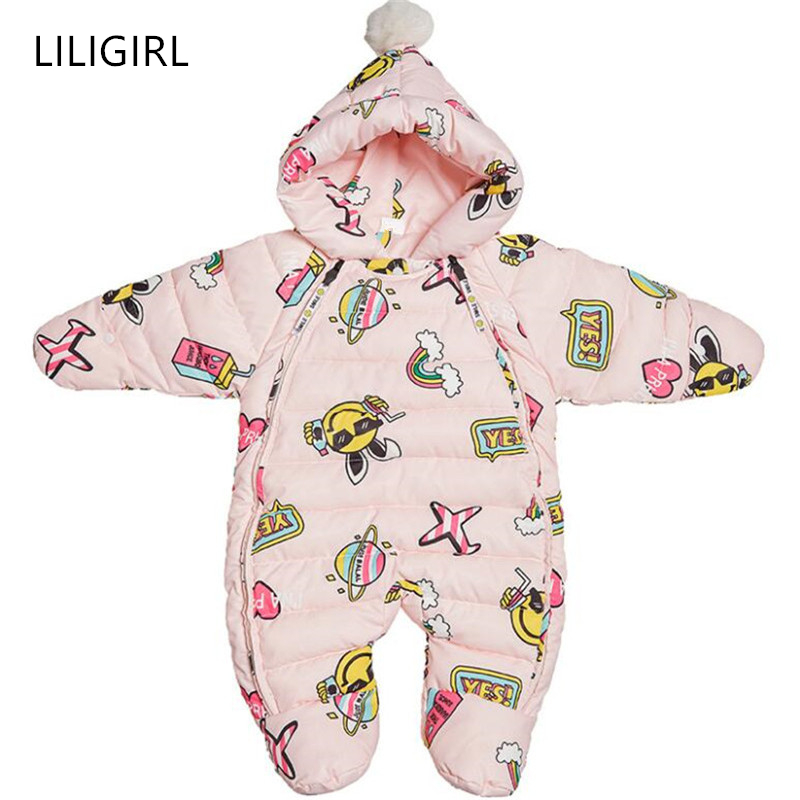 LILIGIRL Newborn Baby Winter Down Rompers for Girls Warm Thicken One-Piece Clothes Overalls Suit and Boys Cartoon Print Jumpsuit newborn baby jumpsuit warm winter boys and girls toddler rompers cartoon animal wolf long sleeves overalls cotton kids clothes