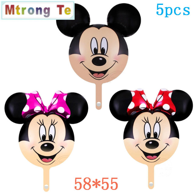 Mtrong Te 5pcs Mickey Mouse Aluminum Balloons Birthday Party Decoration Minnie Supplies Kids Toy