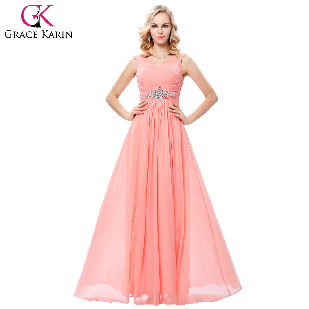 Coral Evening Dresses Grace Karin Elegant Beading Chiffon Gowns Robe ...
