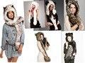 Tampão do Inverno Menina Kawaii dos desenhos animados Chapéus Para As Mulheres da Pele Do Falso Annimal Meia Quente Chapéu Feminino Cap Ouvido Com Luvas De Leopardo moda