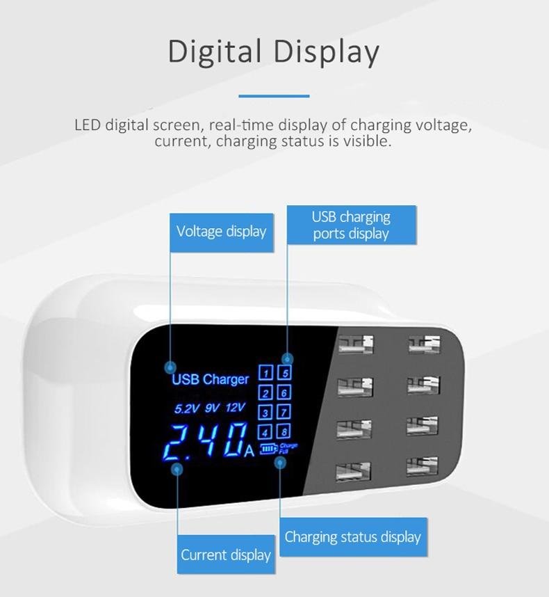 Universal 8 Ports Smart USB Charger Station Hub Led Display charger (5)