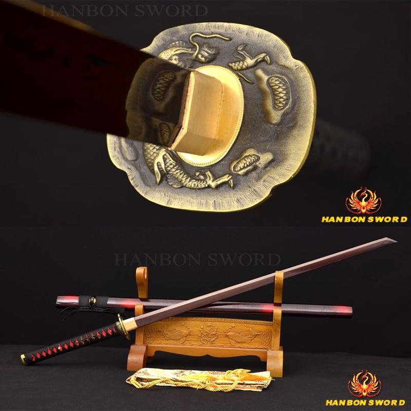 3efa0b9d36b Full tang damasco óleo temperado japonês samurai ninja sword dobrado preto    vermelho kiriha-zukuri lâmina sharp handmade completo