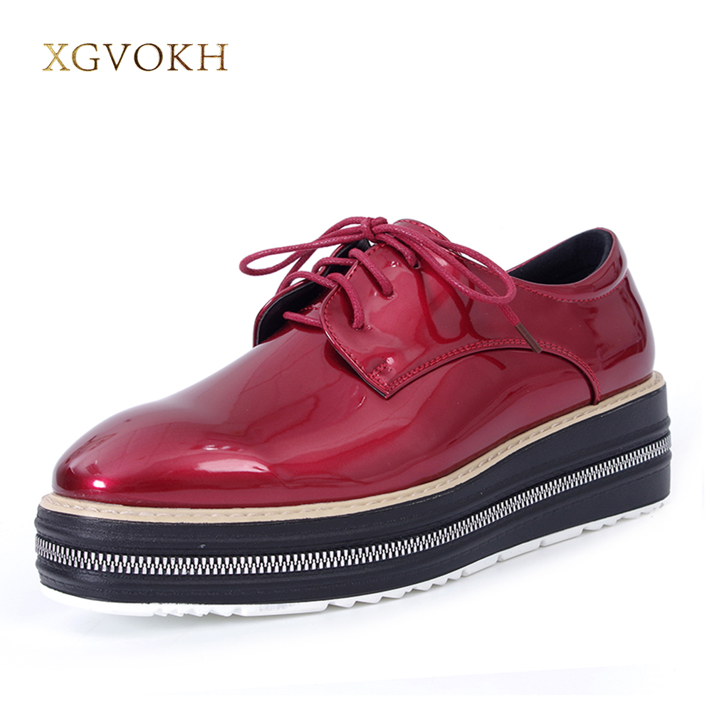XGVOKH Women Shoes Casual Platform Oxfords Brogue Flats Patent Leather Lace Up Pointed Toe Dress Shoes qmn women metallic paneled brushed leather brogue shoes women square toe oxfords casual shoes woman leather platform flats