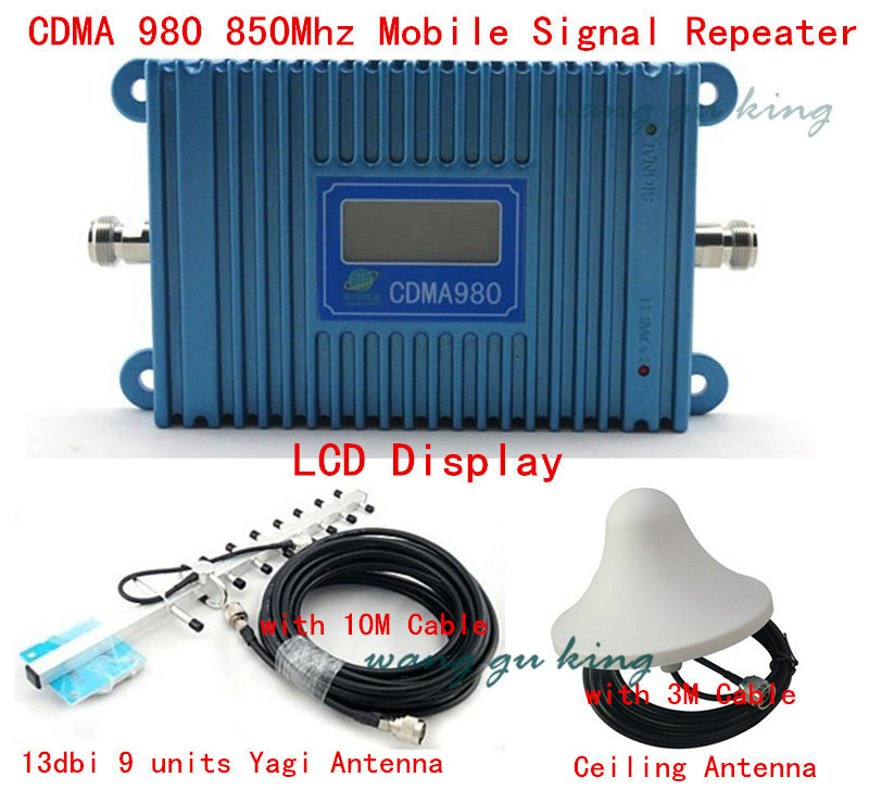 LCD Display GSM CDMA 980 850Mhz Signal Booster Repeater Amplifier Coverage 1000 Sqm+9 Units Yagi Antenna +Ceiling Antenna