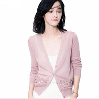 2017 Spring Summer Female Cardigan Women Hollow Out Patchwork Thin Lace Cardigans Long Sleeve Button Knitted