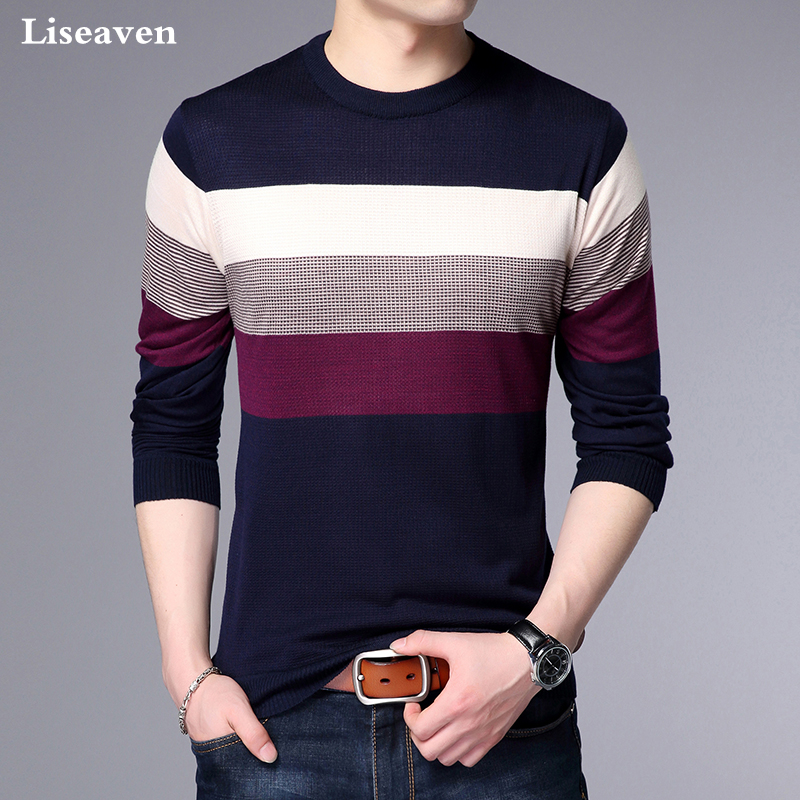 Liseaven Sweaters 2018 Winter New Arrival O-Neck Sweater Men Brand Clothing Knitted Pullover Men